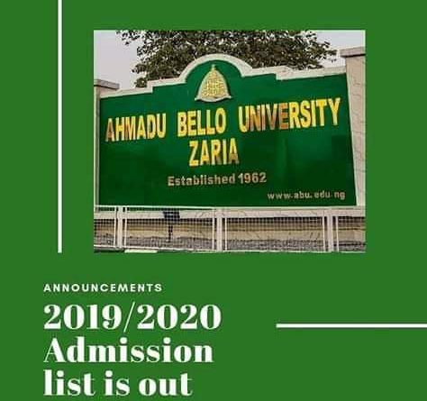 ABU Admission List for 2019/2020 Session Released On School Portal 1