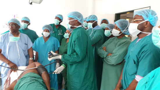 Dr Sabo Tanimu performed upper endoscopy procedures while training doctors on staff at the National Hospital Abuja