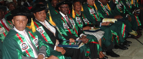 Professor Jarlath Udoudo Umoh and the nine (9) distinguished scientists inducted as Fellows of the Nigerian Academy of Science.
