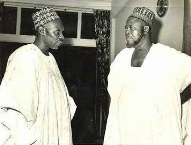 Prime minister, Alhaji Sir Abubakar Tafawa Balewa KBE, and the northern premier, the Sardauna of Sokoto, Alhaji Sir Ahmadu Bello KBE.