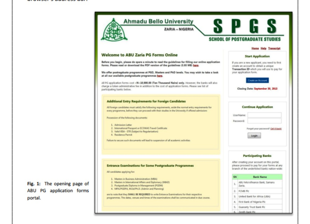 ABU Zaria PG Application Form Online for PGD, MSc, MPhil and PhD Programmes