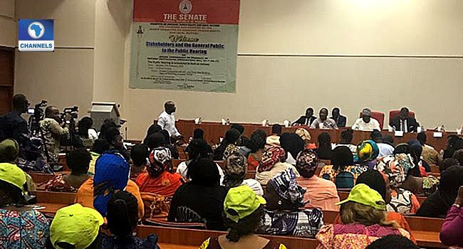 This photo taken on February 17, 2020, in Abuja shows a scene at the public hearing on a bill to prohibit sexual harassment in tertiary institutions