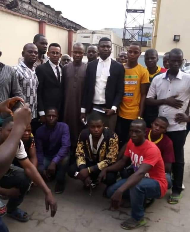 Barr. Clement Benjamin and the freed Youths