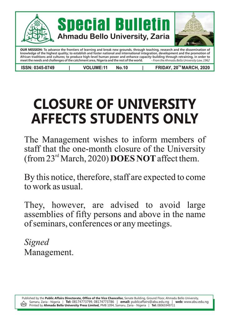 Closure of ABU Zaria Affects Students ONLY
