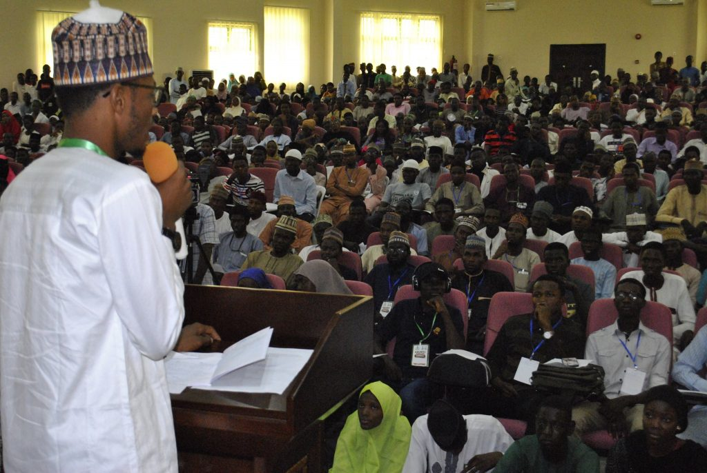 Usman Waziri addressing students