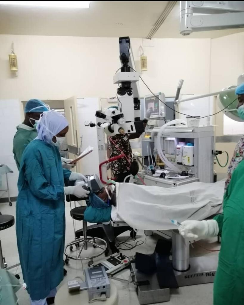 The paediatric team led by Dr. Mahmoud Alhassan operating on a patient in one of National Eye Centre, Kaduna theatres