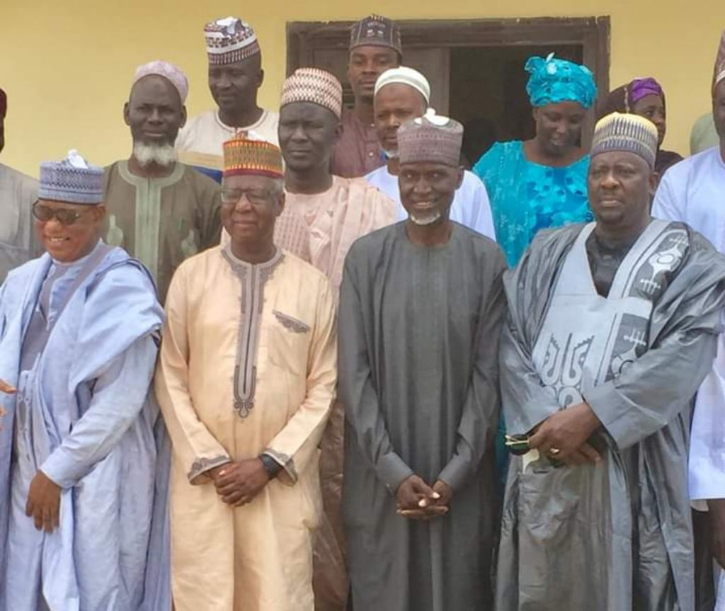 Professor Buba Garegy Bajoga with Professor Abdullahi Mahdi the VC Gombe State University of Science of Technology, Kumo during a visit of the Gombe State Tertiary Institutions Review Committee headed by Professor Buba Garegy Bajoga. 2019