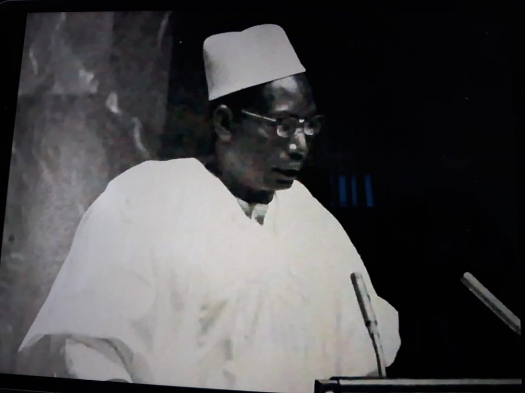 The ambassador's father, H.E. Nuhu Bamalli, addressing UN General Assembly in 1965 as Nigerian Foreign Affairs Minister