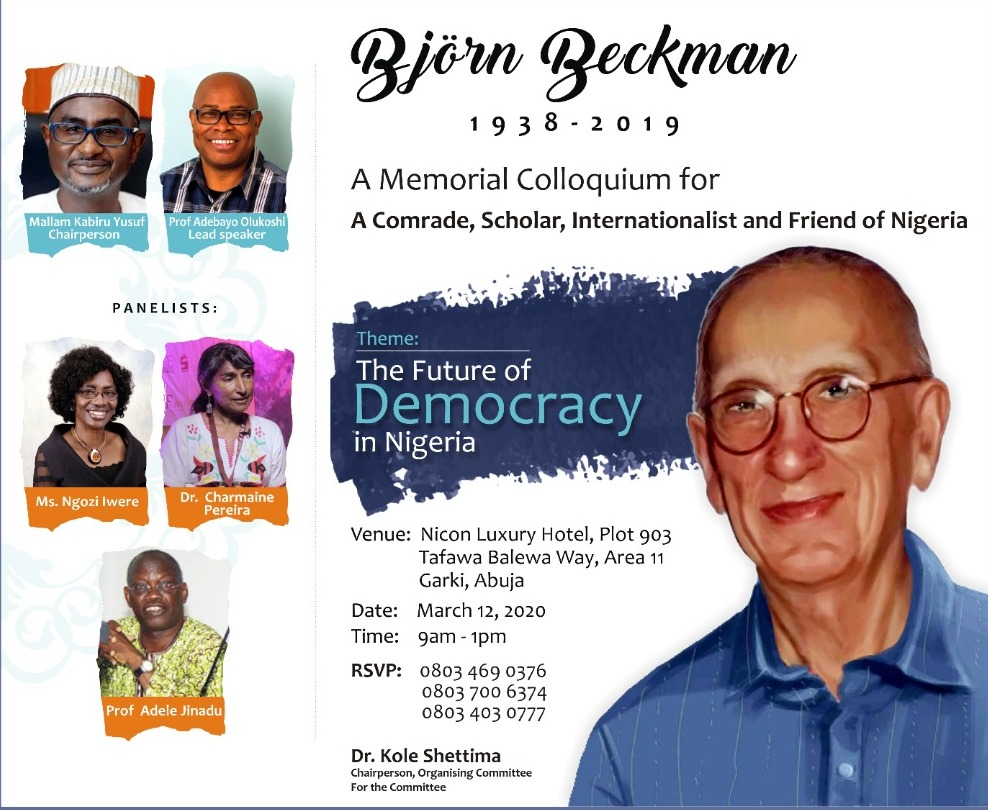 Bjorn Beckman, ABU Marxist Scholar to be Honoured in Abuja