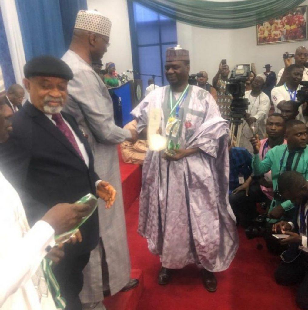 Professor Hussaini Doko receiving the National Productivity Order of Merit Award in 2019.