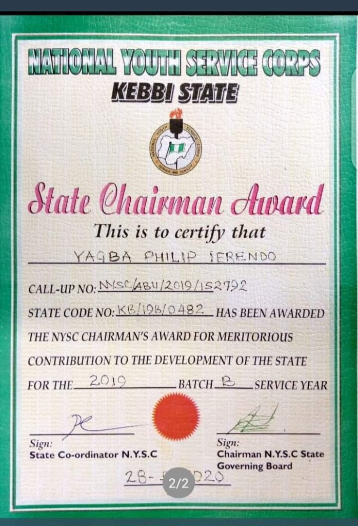 Abusite Corper Awarded for Renovating and Constructing Boreholes in Kebbi